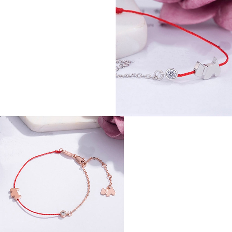 Rose gold color animal zodiac signs dog a bracelet mens womens red thread charms bracelets for women new year gifts