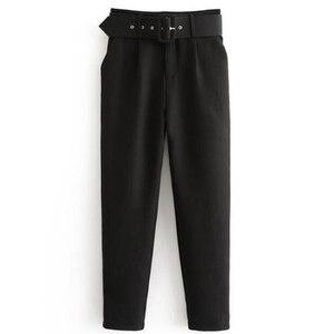 Image 3 - Stiruuna cintura alta senhora do escritório com cinto calças femininas causal preto harem calças com faixas elegante senhora calças cores leggings