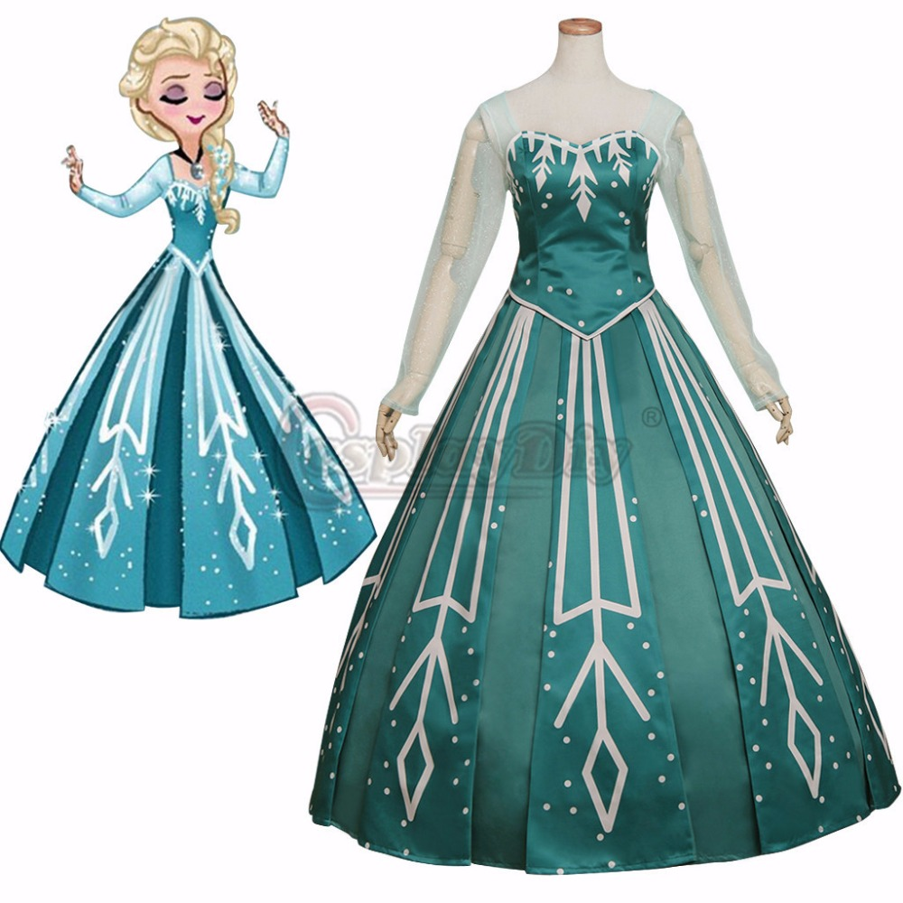 Cosplay Elsa Princess Green Version Dress Costume Cosplay Adult Women Fancy Party Wedding Halloween Dress L0516
