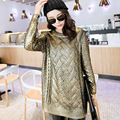 The European Women's autumn and winter long section of loose knit gilt gold sweater,shiny Beautiful  0.35KG