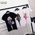 De alta Calidad de La Manera de Las Mujeres Tropicales Barbie doll Estilo de Impresión de Manga Corta O Cuello de la Camiseta Ocasional Camiseta de Algodón Tops TX813