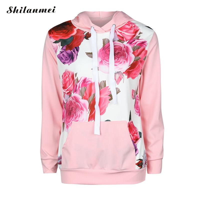 New Winter Fashion Women Floral Print Autumn Spring Jumper Women Long Sleeve Top Hoodies pink Sweatshirts Hooded Outerwear 5