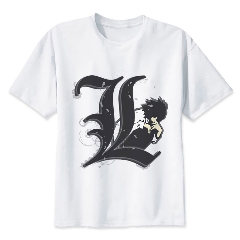 T-shirts Men's Clothing Death Note T Shirt Anime T-shirt Summer Fashion Tshirt Casual White Print For Male Comfortable Men Top Tees W1490