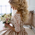 Modest Lace Appliques Champagne Satin Princess Wedding Dresses With Half Sleeves