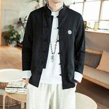 Camisa de algodón y lino de manga larga con cuello chino para hombre, abrigo suelto de estilo de pelo con bordado de algodón vintage