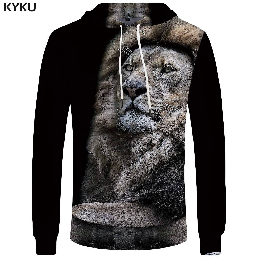 KYKU Brand Lion Hoodies Men Animal Sweatshirt Black Pocket Hoddie Big Size Mens Clothing 3d Hoodies Cool New Anime Clothes