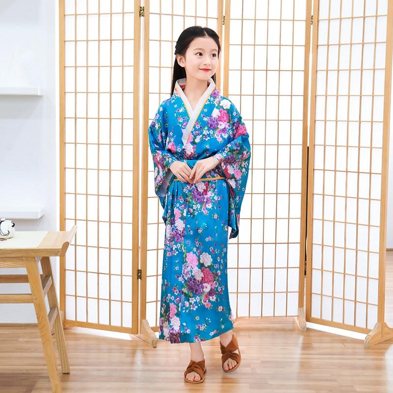 Child Novelty Cosplay Floaral Dress Japanese Baby Girl Printing Kimono Dress Children Vintage Yukata Kid Girl Dance Costumes