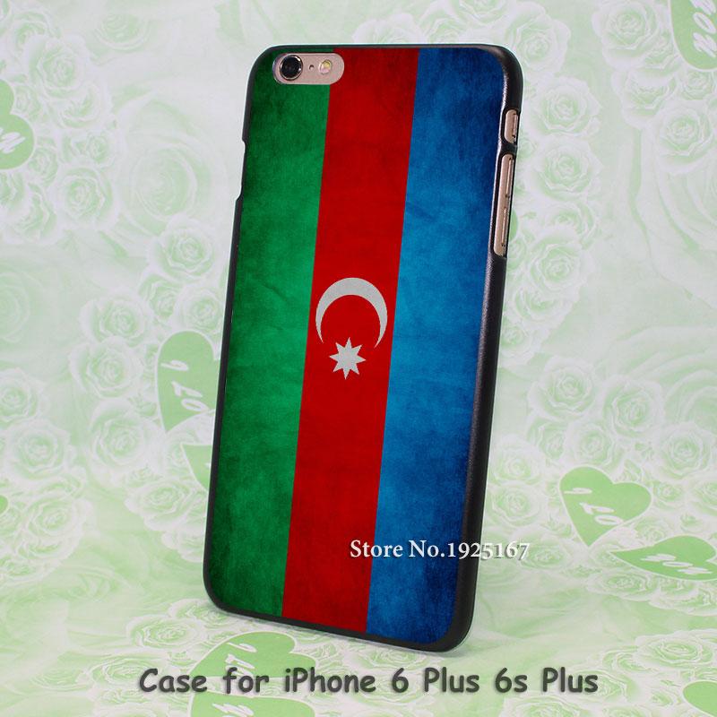 Azerbaijan Flag Pattern hard black Case Cover for iPhone 4 4s 5 5s 5c 6 6s 6 Plus 6s Plus