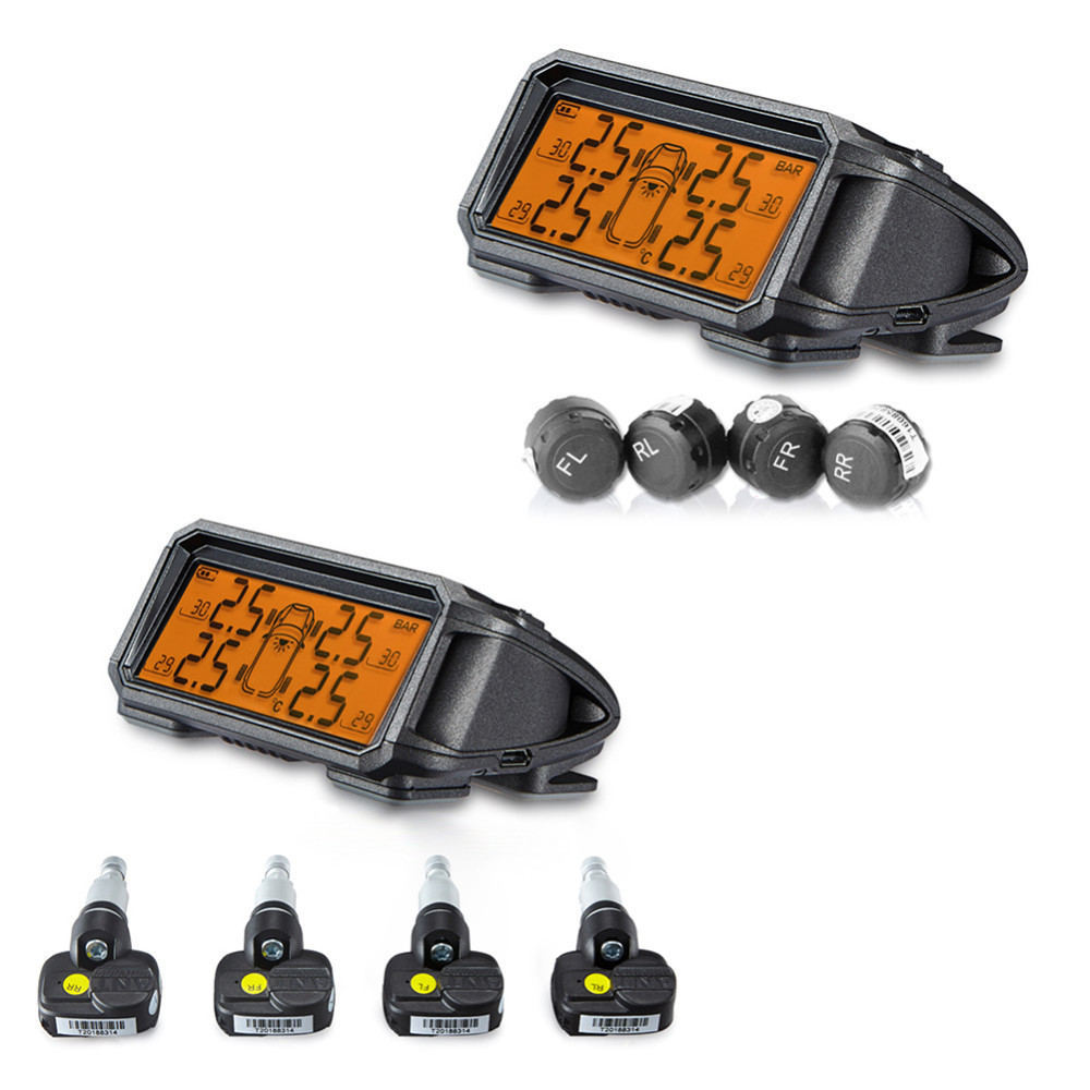 Car Solar Large-Screen Wireless TPMS Tire Pressure Monitoring System with 4PCS External or Internal Sensors with LCD Display jansite car tpms tire pressure monitoring system solar power charging wireless external or internal sensors tire press indicator