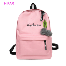 HIFAR Women Backpack For School Teenagers Girls Kawaii Bag 2019 Bookbag Canvas Female Backbag Rucksack with Fur Ball