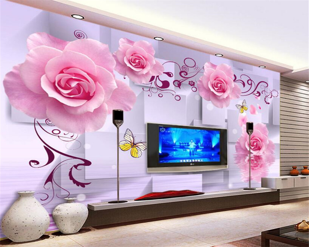 beibehang Pink Rose Romantic Flower Water Reflection 3D Background Wall 3d wallpaper papel de parede wallpape for living room