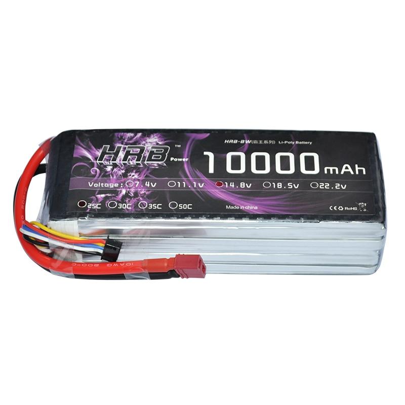 все цены на  HRB RC Lipo Battery 4S 14.8V 10000mAh 25C 50C AKKU Bateria For DJI S800 Drone Helicopter Airplane Robot UAV FPV  онлайн