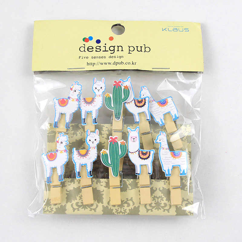 10pcs Cactus Alpaca Llamas Wooden Clips with Rope Vicugna Pacos Photo Clips Kids Birthday Party Decoration Summer Hawaiian Decor