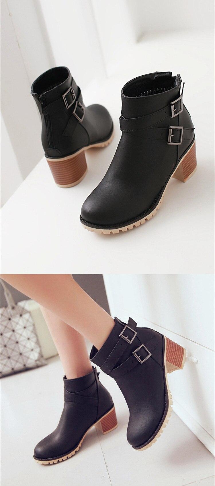 0f364d5e0 حذاء نسائي بكعب عالٍ أحذية الخريف حذاء من الجلد ل الإناث سستة بو أحذية بوت  قصيرة الأزياء مشبك النساء الأحذية زائد حجم 34-43 0839 W