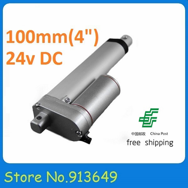 Free shipping CPA 1 PC-24V,100mm/ 4 inch stroke, 900N/90KG/198LBS load linear actuator