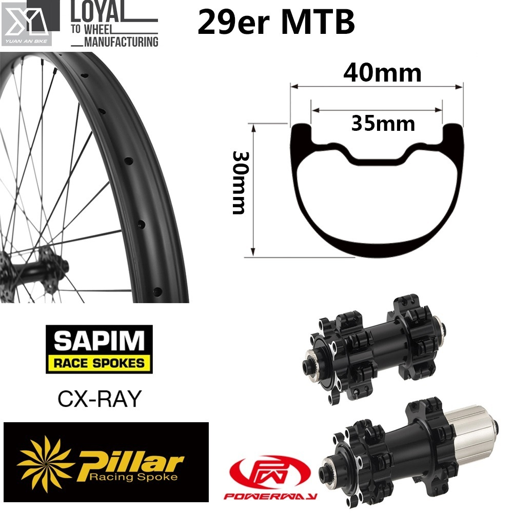 29er Plus Mountain Bike Wheel Carbon Mtb Wheelset 40mm Wider Rim XC Or AM 28 Hole With Taiwan Powerway Straight Pull Hub Boost
