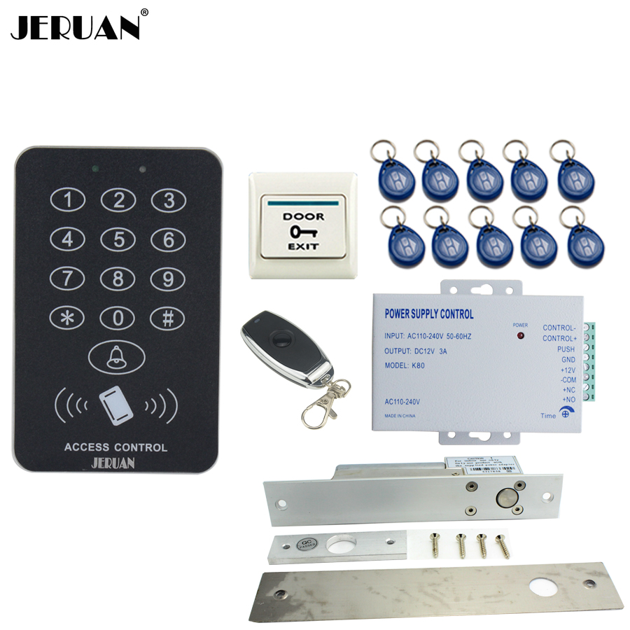 JERUAN RFID Access Controller Door control system kit + ELectric Drop Bolt lock +Remote control + Exit Button +10 ID Keys rfid door access control system kit set with electric lock power supply doorbell door exit button 10 keys id card reader keypad