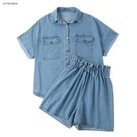 Blue Two Piece Denim Shorts Set Women Outfits Summer 2019 Fashion Streetwear Denim Shirt And Jeans Short Clothing 2 Piece Set