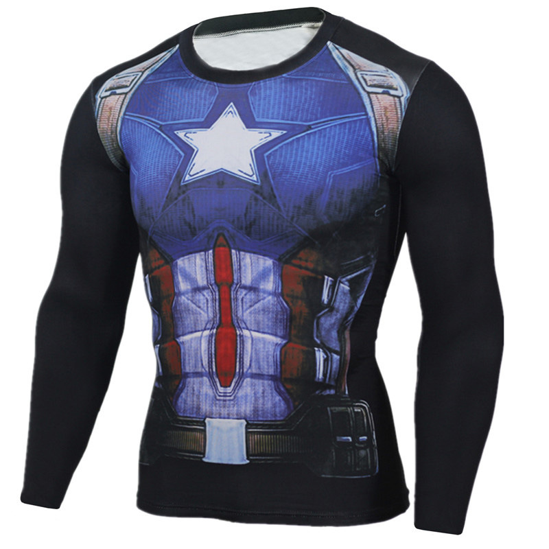 YCCRG Brand Men Trainning Exercise Crossfit T-shirt Captain America 3D Print Long Sleeve Gym Sport T shirt Fitness MMA Plus Size