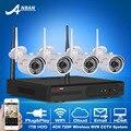 Kit CCTV 4CH NVR Inalámbrica P2P Plug And Play 720 P HD 36IR al aire libre WIFI Mini Cámara IP de Vigilancia de Seguridad Del Sistema 1 TB HDD