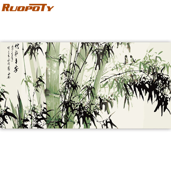 RUOPOTY 60x120cm Frame DIY Painting By Numbers Chinese Bamboo Painting Acrylic Paint By Numbers Large Size For Living Room Arts