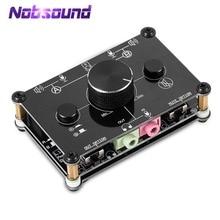 Pequeno urso mc1023 mini 2 way áudio microfone fone de ouvido alto falante microfone switcher hub seletor de controle de volume para computador ps4 xbox