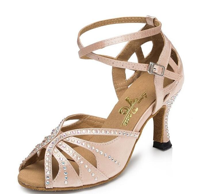 New Ladies Girls Flesh Satin Crystal Salsa Ballroom Dance Shoes Latin Mambo Tango Dance Shoes ALL Size