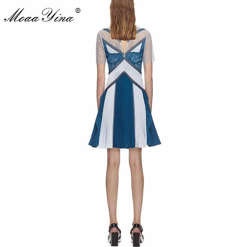 MoaaYina/весенне-летнее платье с коротким рукавом, Новое поступление, лоскутное мини-платье с кружевной вышивкой, женское вечернее платье