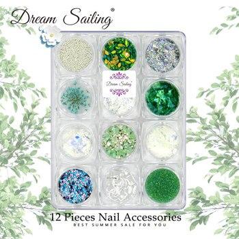 Decoración 3D para uñas de lentejuelas brillantes de diamantes de imitación en polvo flores secas de Metal cristal calcomanías de uñas nuevo diseño accesorios de uñas