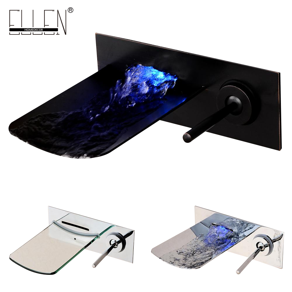 Water Led Bathroom Tap Faucet Temperature Color Changing LED Waterfall Wall Mount Bathroom Sink Faucet infos bathroom led waterfall water tap