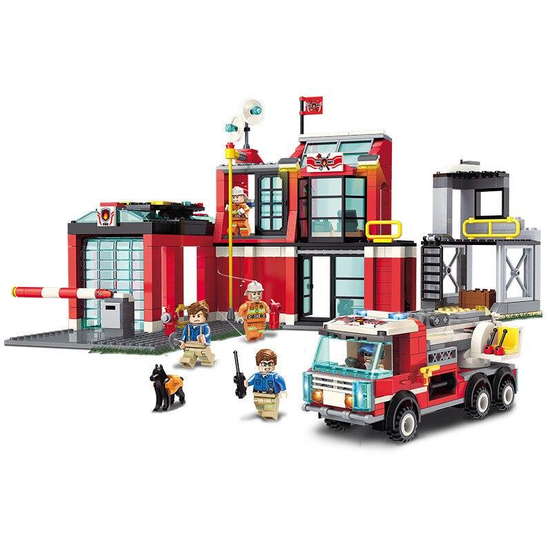 523pcs เด็กการศึกษาอาคารบล็อกของเล่นเข้ากันได้กับ Legoingly city Fire Series Fire Station DIY ตัวเลขอิฐของขวัญ-ใน บล็อก จาก ของเล่นและงานอดิเรก บน   1