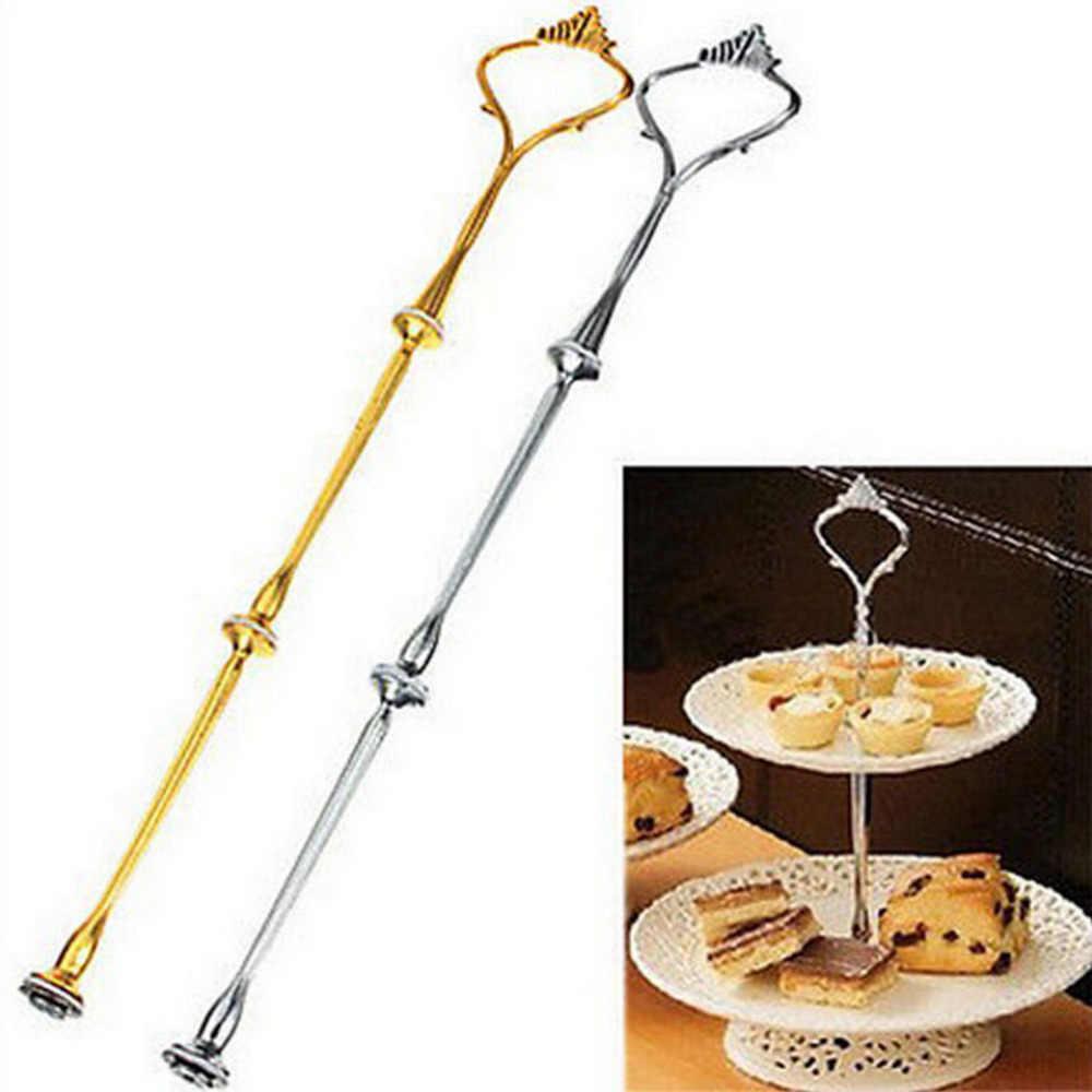 1 Juego de 2 o 3 herramientas para tartas mango de soporte para bandeja de pastel corona de Metal para fiestas de bodas 6 colores