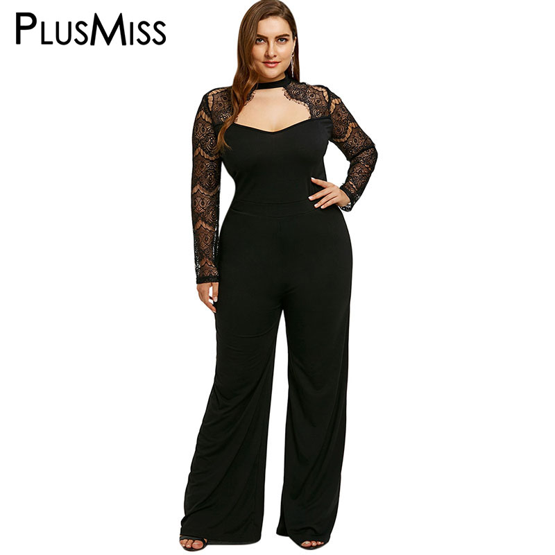 PlusMiss Plus Taille 5XL Sexy Dentelle Dos Nu Salopette Barboteuse Vêtements Femmes Vêtements de Travail Noir Pantalons Longs Party Salopette Macacao Feminino