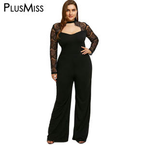 d8a11cfc6b PlusMiss Plus Size 5XL Sexy Lace Romper Long Pants Jumpsuit