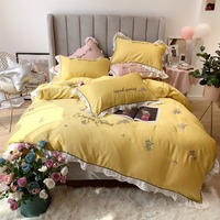 2019 New Style embroidery Bedding Set Luxury Bed Set Tencel Bed Sheet Queen King Size Duvet Cover Set Pink yellow Bed Linen