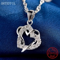 Hot Sales 925 Sterling Silver Women Necklace Fashion Heart Pendant Silver Necklace Charm Jewelry