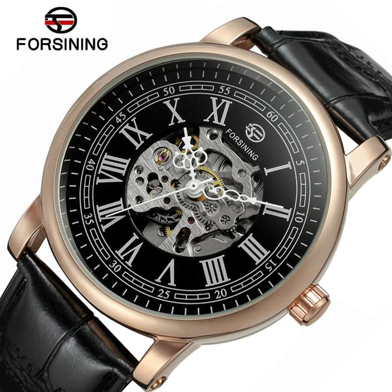 2018 Fashion Designer Men Mechanical Watch Forsining Genuine Leather Watch Retro Golden Automatic Mechanicals Wristwatch