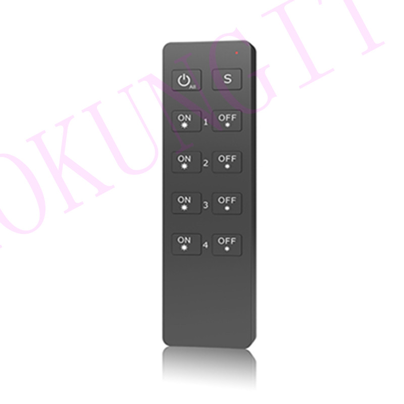4 Zones 2.4G Brightness Remote Control RU4 Work With V Series Wireless Receiver/Touch Panel; Led Single Color Light Remote