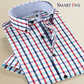 Asia Size XS-5XL Summer Short Sleeve Plaid Shirts Casual Men Shirt Casual Slim Fit New Fashion camisa masculina