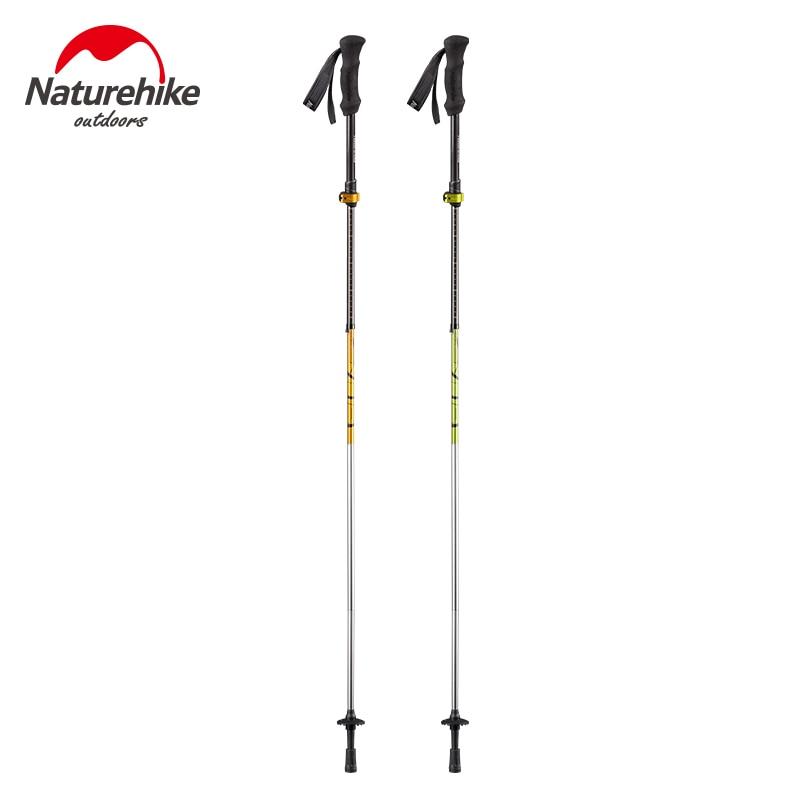 Naturehike Ultraligh Portable Carbon Fibre Folding Telescopic  Walking Stick Straight Handle Crutch Trekking Pole Hiking Stick