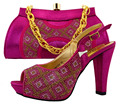 New Arrival Fuchsia Color African Shoe And Bag Set For Party In Women African Wedding Shoe And Bag Sets Summer Fashion  MM1024
