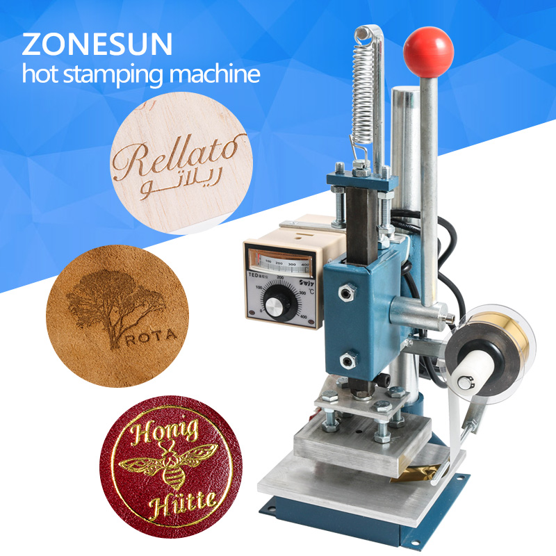 ZONESUNZONESUN 5x7 8x10 10x13 220V Maunal Stamping Machine Hot Foil Paper Wood Leather logo machine embosser Heat Press Machine