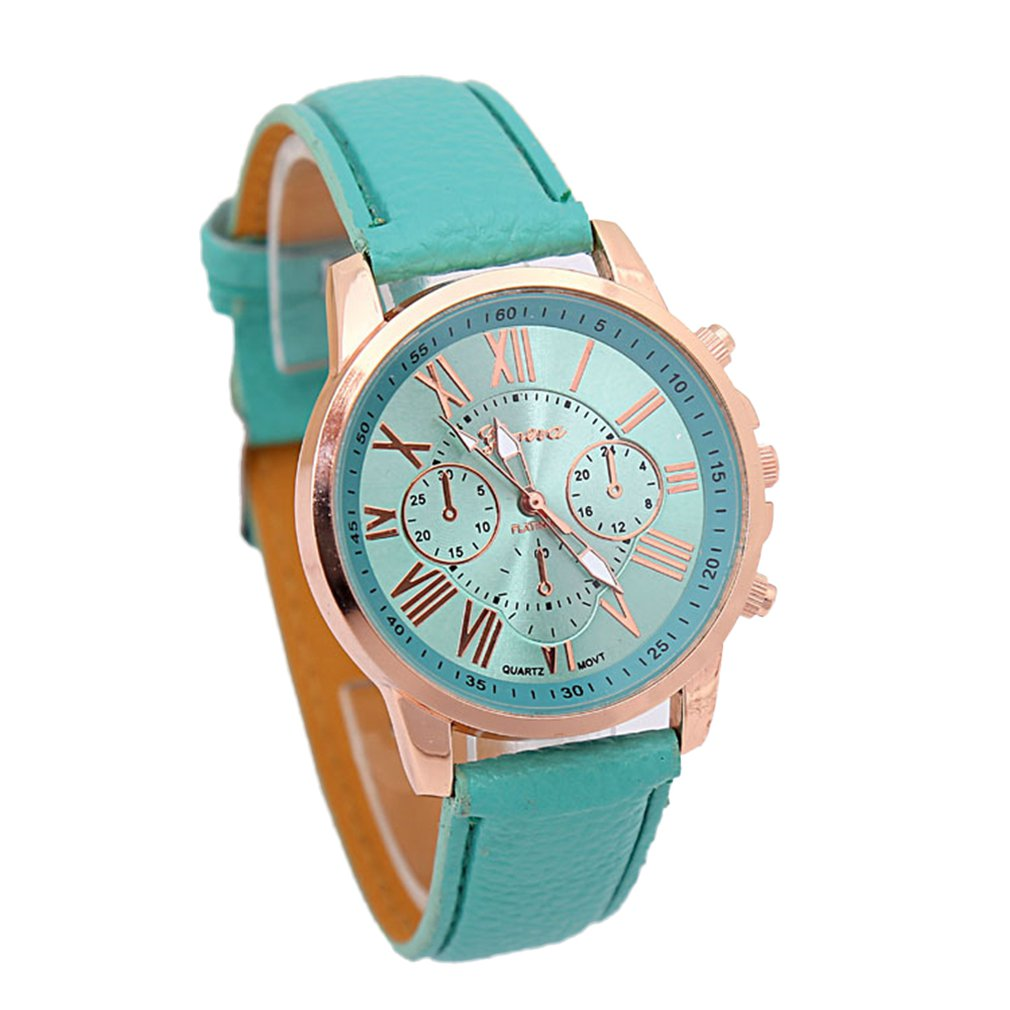 Fashion Brand Multi-function Analogue Round Big Dial Quartz Leather Strap Watch Wristwatch Coloful Strap
