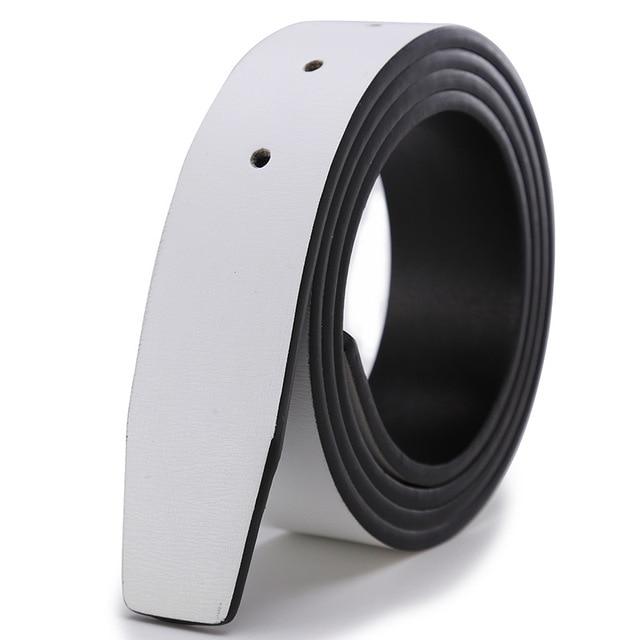 La marca No Buckle 3,3 cm Ancho de cuero la correa de cuerpo sin cinturones de hebilla de los hombres de buena calidad hombre blanco cinturones
