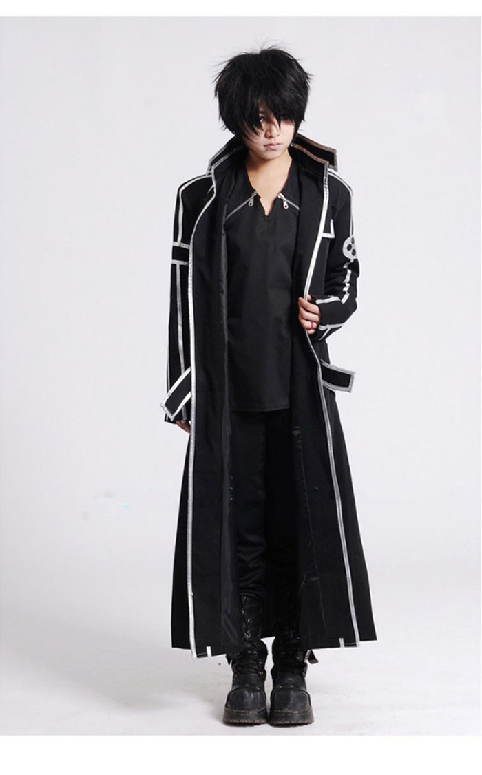 Image 4 - Sword Art Online SAO Kirito Kirigaya Kazuto Robe Cosplay Costumes Long Overcoat Trench Coat ( Cloak + Belt + Shoulder straps )-in Anime Costumes from Novelty & Special Use