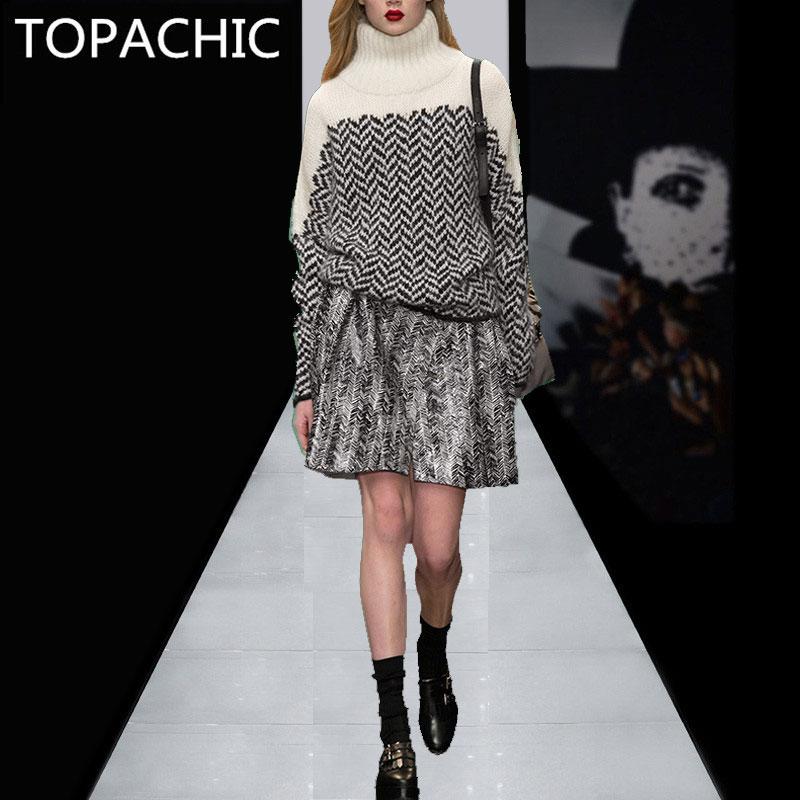 ligne Pull Et A Femmes Officiel Couture Costume Top Pièce Set Marque Jupe Conception Knit Haute 2 Piste Mini As Picture Tenue 45RAjL