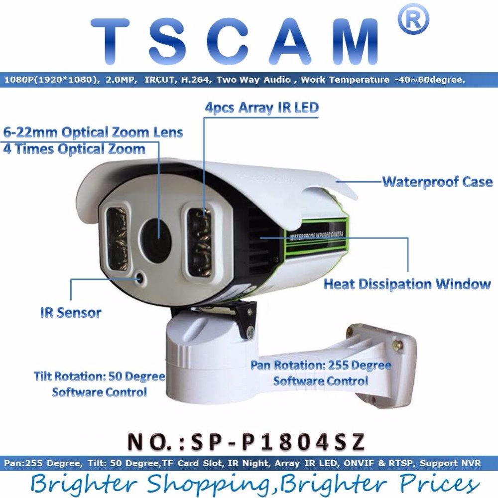 TSCAM new SP P1804SZ 1080P 2 0MP IP Camera Outdoor PTZ 6 22mm Zoom with TF