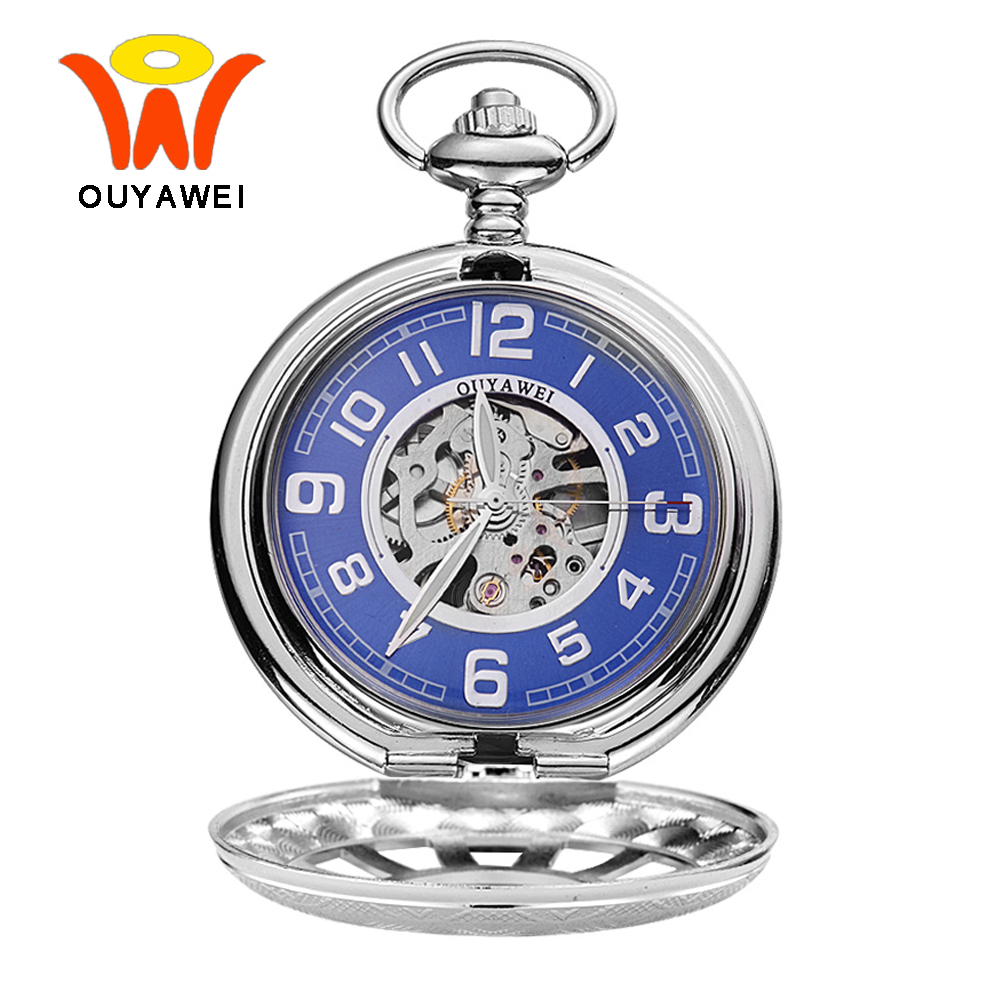 Ouyawei 2017 Vintage Silver Mechanical Pocket Watches With Chain Fashion Blue Skeleton Dial Men Clock Necklace Pocket Fob Watch steampunk antique silver mechanical skeleton pocket watch mens women watches vintage hollow pendant chain clock gifts retro