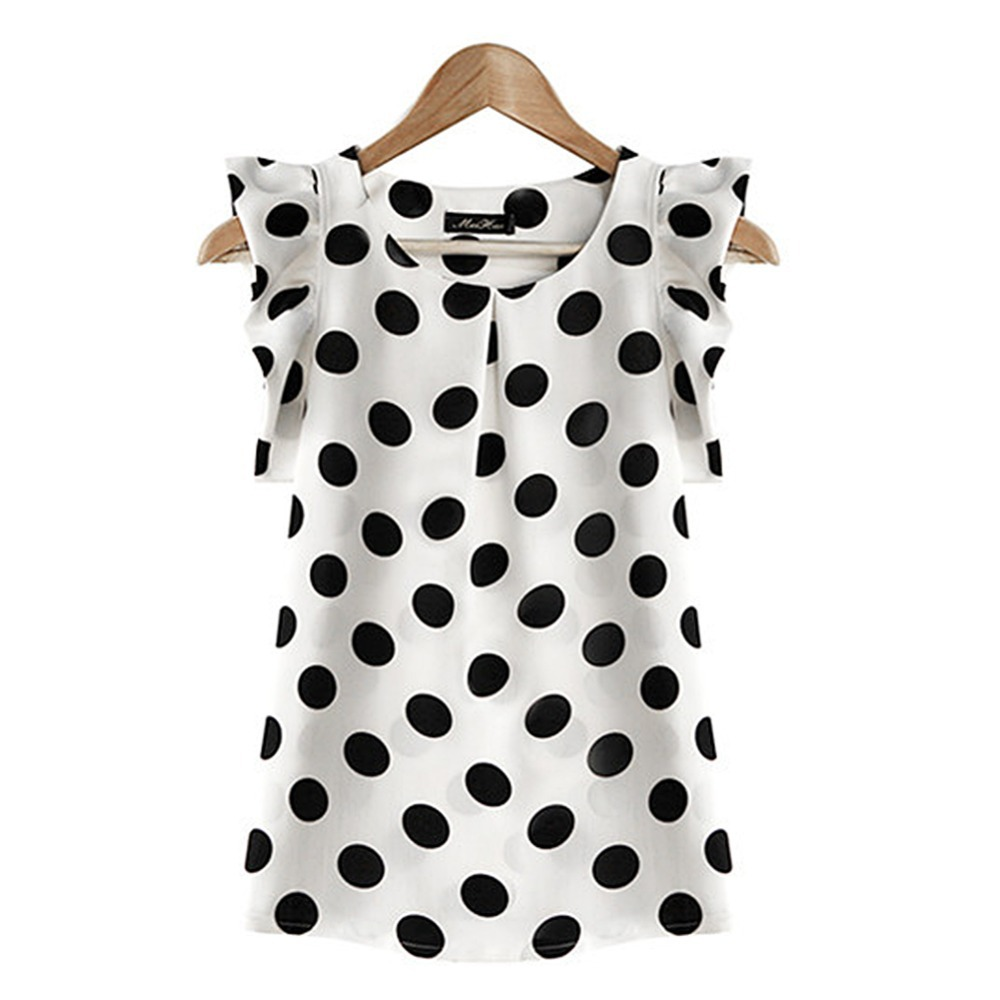 Fashion Women Printed Polka Dot Casual Chiffon Blouse Puffed Short Sleeve Shirt Summer Tops