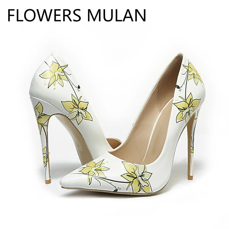 White Leather Light Yellow Flowers High